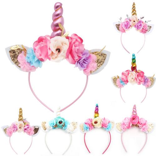 Brand New 2019 Women Kids Party Gold / Silver Unicorn Horn Headband Flower Horn Girls Hats Birthday Headband Hair Accessories