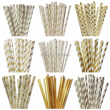 New Hot 25pcs/lot Foil Gold Silver Paper Straws For Kids Birthday Party Wedding Christmas Decoration Mickey Flags Supplies