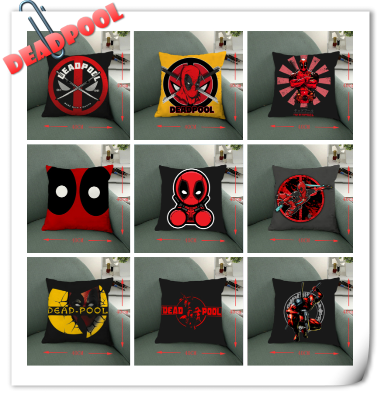 Giancomics 40*40 Marvel Deadpool Pillow Knited Cloth Square Pillow Case Comfortable Household Furnishing Bolster Home Ornament