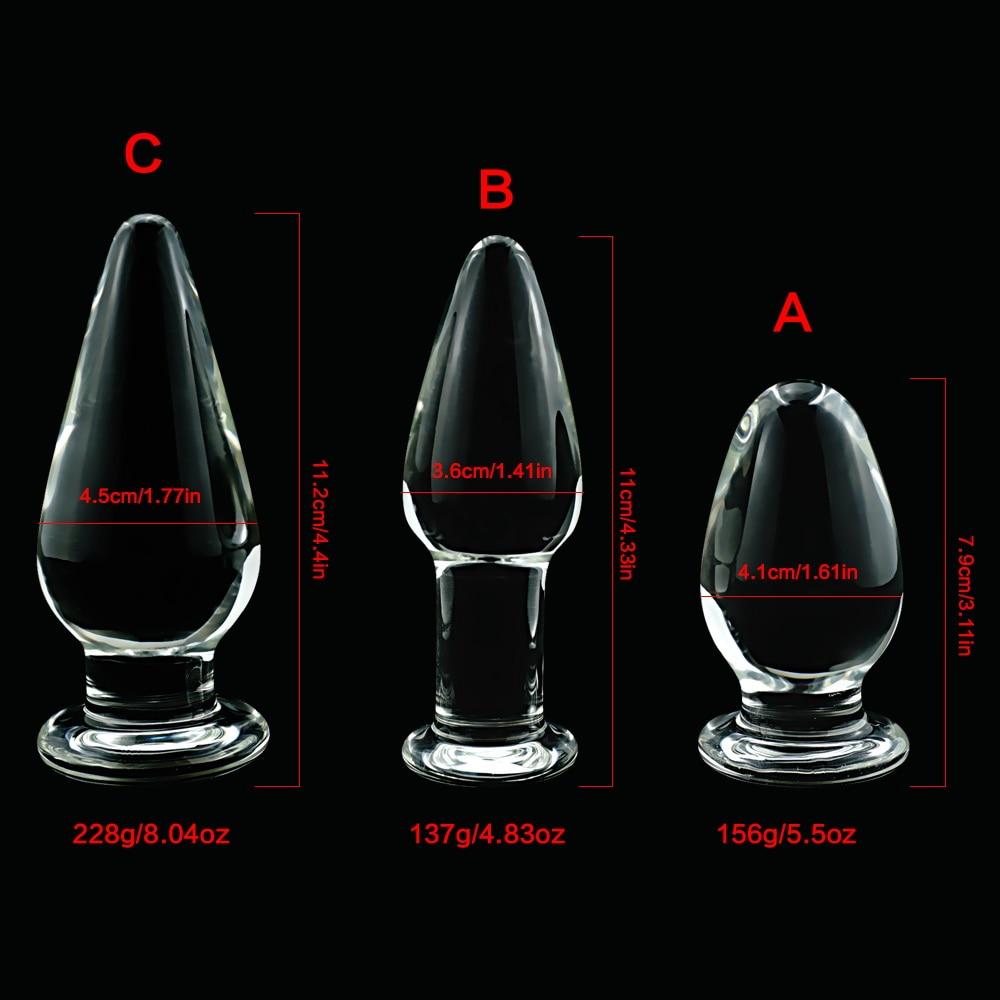 Large Crystal Butt Plug Vagina Ball Pyrex Glass Anal Beads -5050