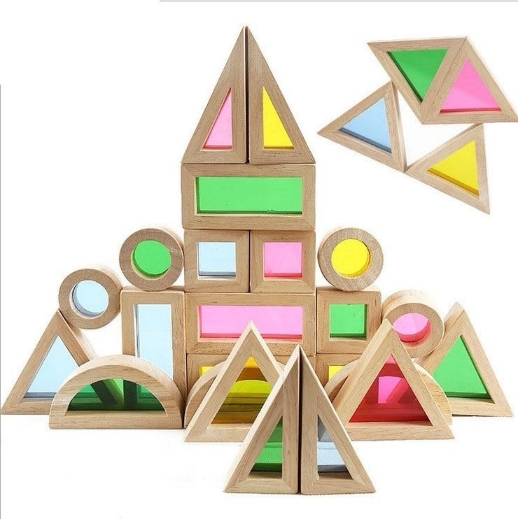 baby educational toy colorful rainbow montessori transparent acrilic wooden building blocks sensory toy Set big size 24pcs цена 2017