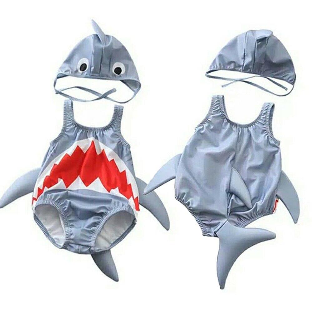 Toddler Kids Baby Girl Boy Cartoon Shark 3D Swimsuit Hat 2PCS Swimwear Bathing Suit for 1-6Y line art