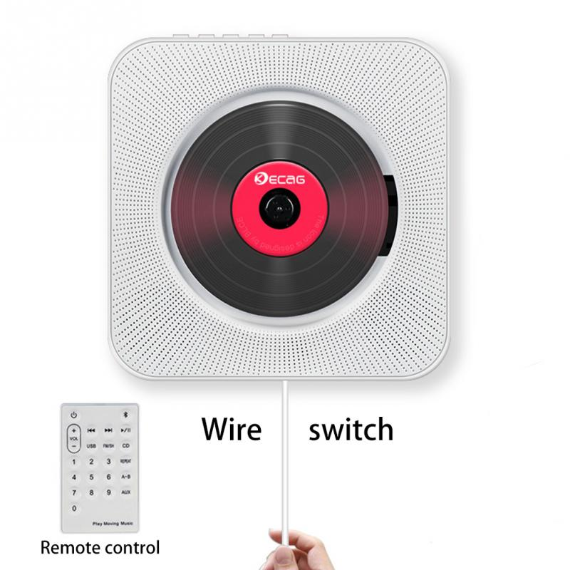 CD Player Wall-mounted Bluetooth Portable Home Audio Boombox with Remote Control FM Radio Built-in HiFi Speakers USB MP3