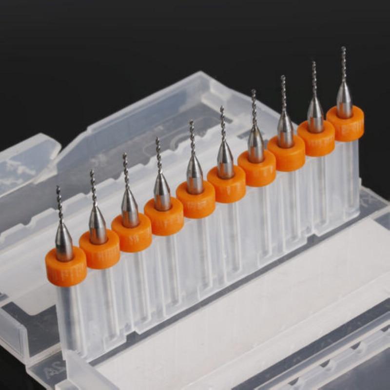 10pcs Micro Drill Bits PCB Drill Bit Print Circuit Board Carbide CNC Engraving Tool 0 8mm in Drill Bits from Tools