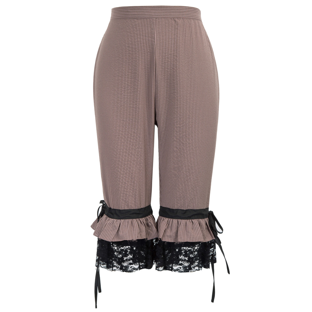 retro calf-length   pants   Women Retro party club lace-up elastic Victorian Steampunk Pirate Cosplay Costume   Capri   Cropped   Pants