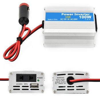 Inversor de corriente portátil para coche, 100W, CC de 12V a ca de 220V, convertidor de cargador, transformador con puertos USB de carga y Oulets