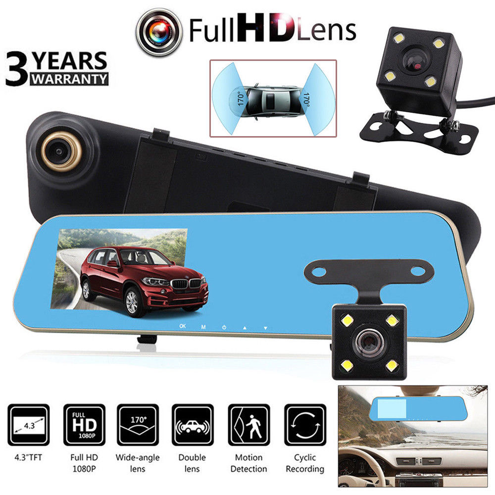 Car Rear View Camera 4.3 HD 1080P Dual Lens Car Dash Cam DVR Rear View Mirror Video Camera RecorderCar Rear View Camera 4.3 HD 1080P Dual Lens Car Dash Cam DVR Rear View Mirror Video Camera Recorder