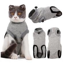Postoperative Recovery Cat Clothes Sterilization Surgery Pet Skin Disease Wounds Anti-Scratch Cotton Close-Fitting Straps