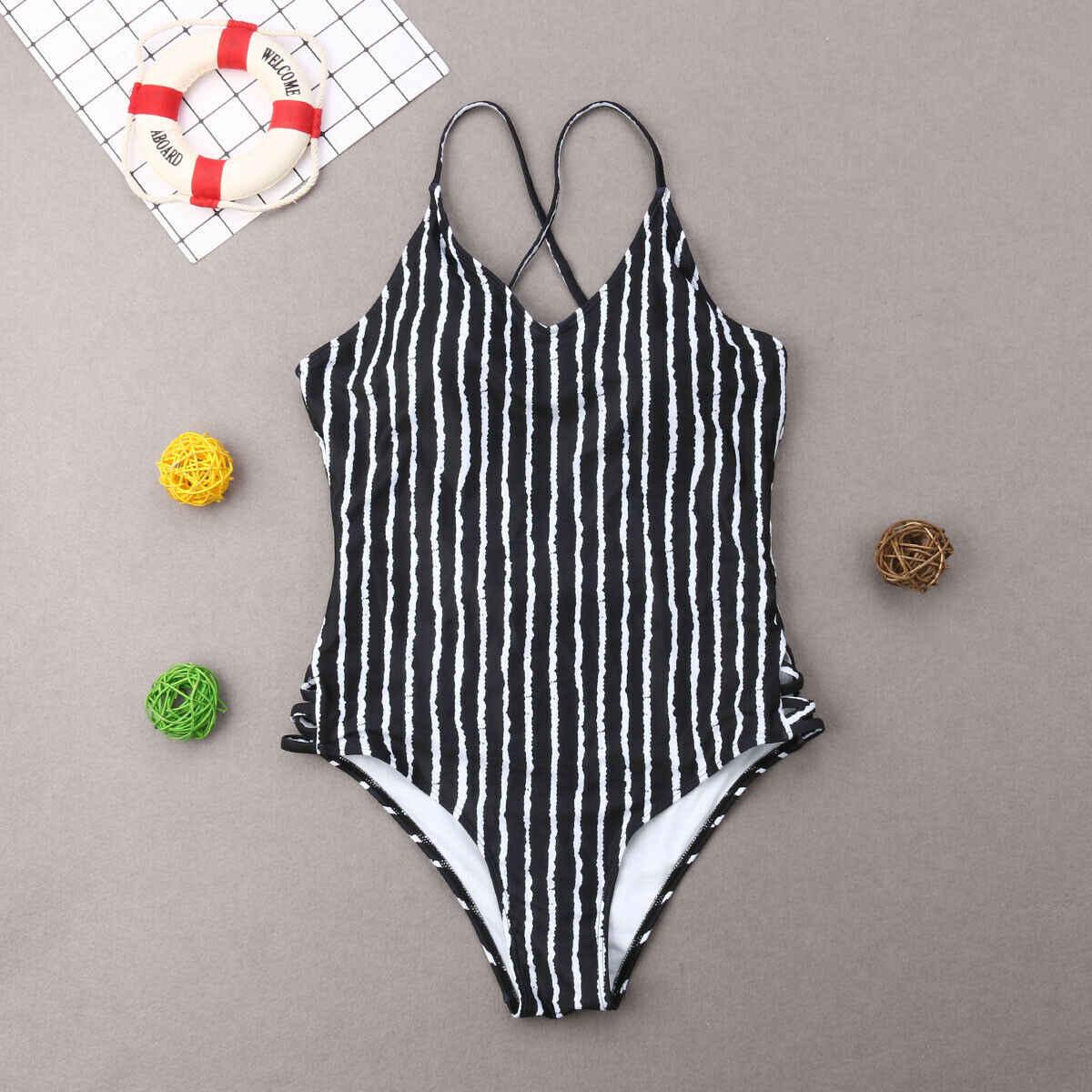 Nuevo Bikini 2019 traje de baño a juego de la familia madre hija Padre hijo a juego chico una pieza traje de baño a rayas hombres troncos