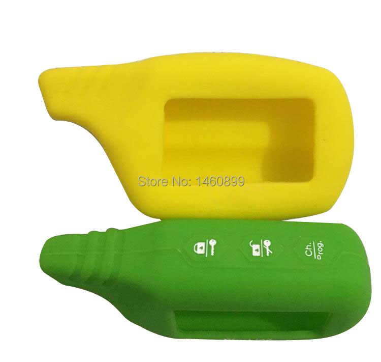Atacado Amarelo B9 Forma Silicone Caso Chaveiro para 2 Chaveiro Controle Remoto do Sistema de Alarme de Carro Starline B9 B6 A61 a91 B91/B61 V7