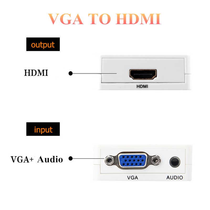 Rankman vga macho para hdmi conversor fêmea com cabos de adaptador de áudio 720/1080 p para hdtv monitor projetor computador portátil tv-caixa ps3