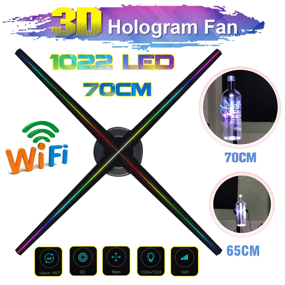 Upgraded 70cm Wifi 3D Holographic Projector Fan Hologram Player LED Video Display Fan Advertising Light APP Control Four AxilUpgraded 70cm Wifi 3D Holographic Projector Fan Hologram Player LED Video Display Fan Advertising Light APP Control Four Axil