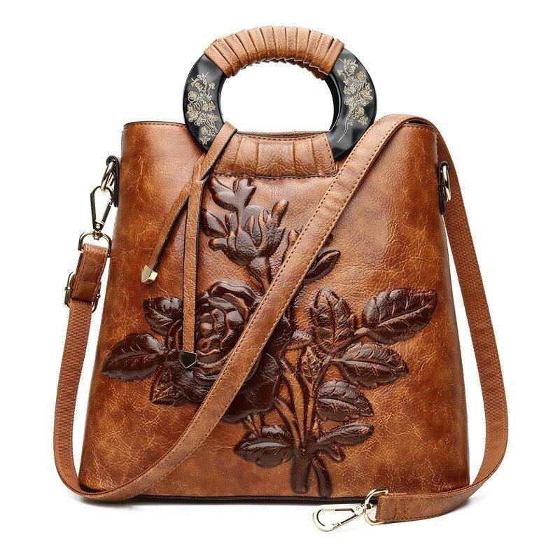 2019 Vintage en cuir gaufré femmes Sac à Main en cuir de qualité mode femmes Sac à bandoulière Style chinois dames Sac à Main