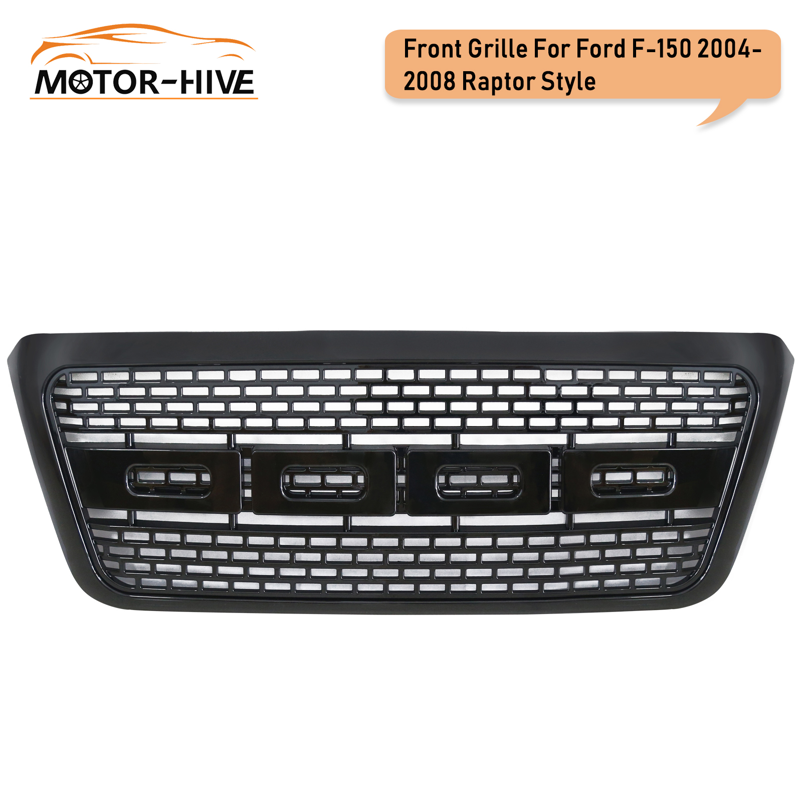 For 2004-2008 <font><b>Ford</b></font> <font><b>F150</b></font> Raptor Style Front Bumper Grille Upper Hood Black ABS US Stock image