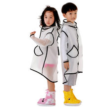 Transparent Raincoat Boys Rain Coat Hooded Outdoors Clear Waterproof Kids Girls Toddler Children's Raincoats Rainwear(China)
