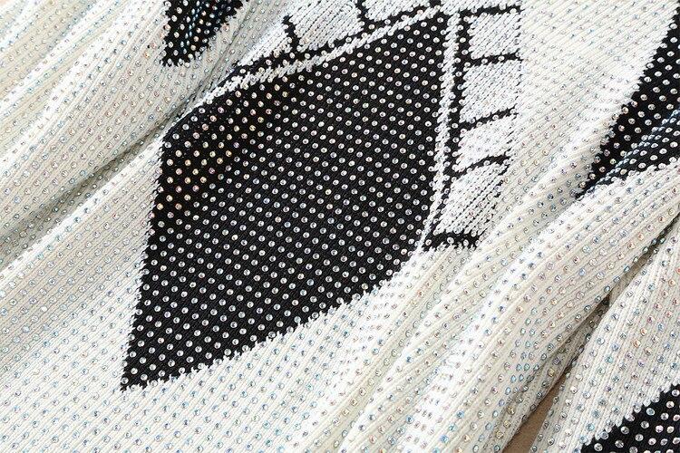 2018 Col Automne Style Strass Manches Motifs Lâche À Perles Tricoté Chauve souris V Géométrique Hiver Chandail Carreaux rOrdw04qx