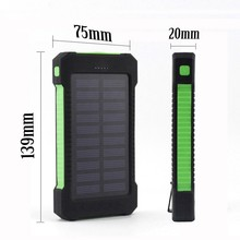FLOVEME Solar Waterproof LED Light Power Bank 2 Dual External Battery Pack Portable Charger For Cell Phone Tablet Camera(China)