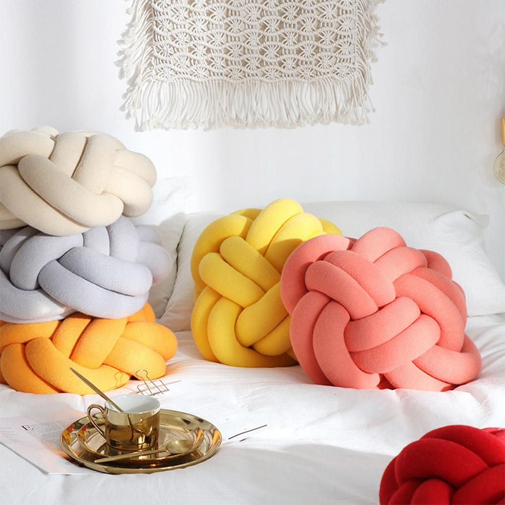 Adeeing Simple Solid Color Knotted Throw Pillow For Sofa