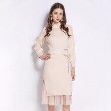 2019 sweet beauty knitted dress women wild sweater damen long slim bottoming lantern sleeves waist feminino