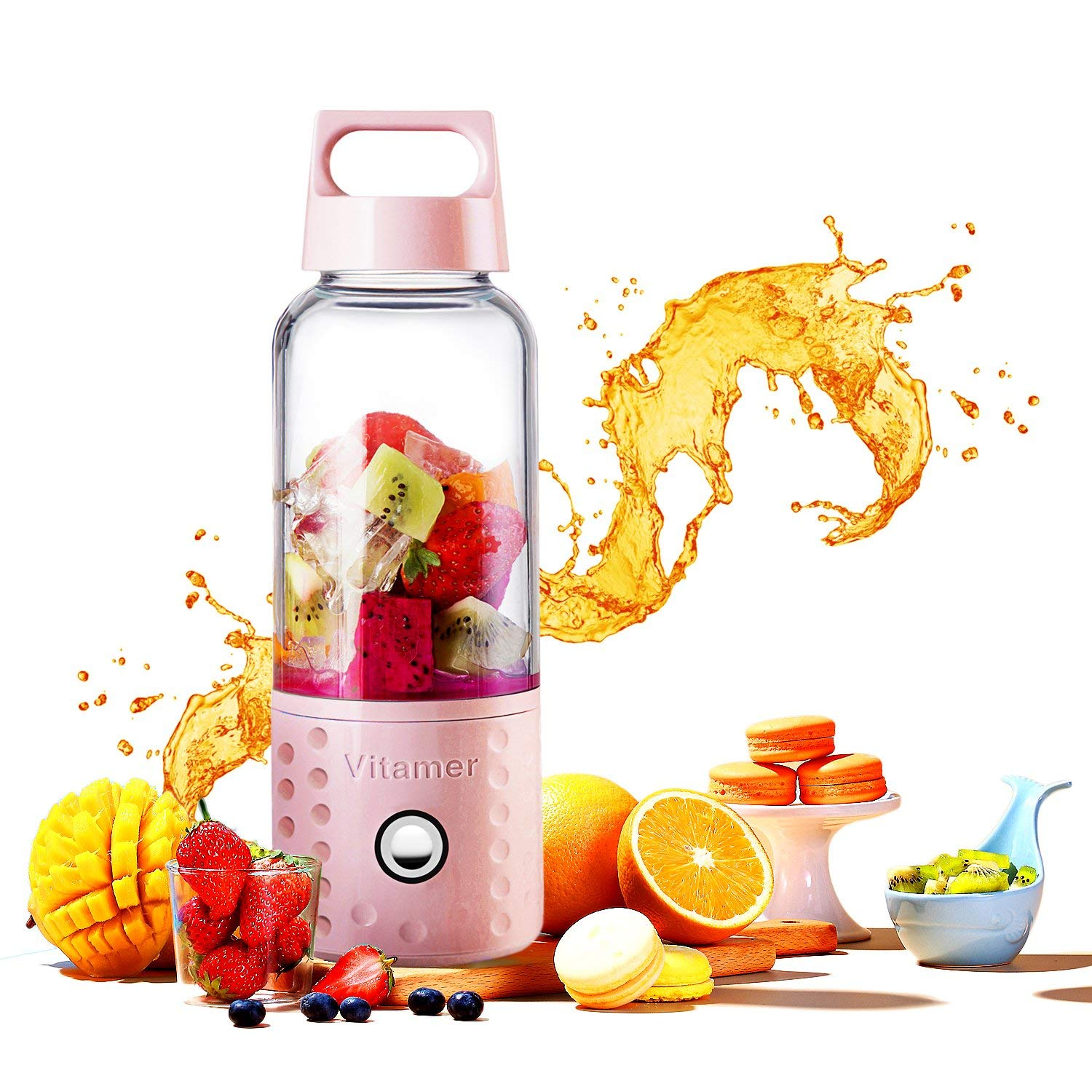 500ml Portable Blender Orange Juicer Cup Smoothie Blender USB Juicer Cup Fruit Mixing Machine With 4000mAh Rechargeable Batterie