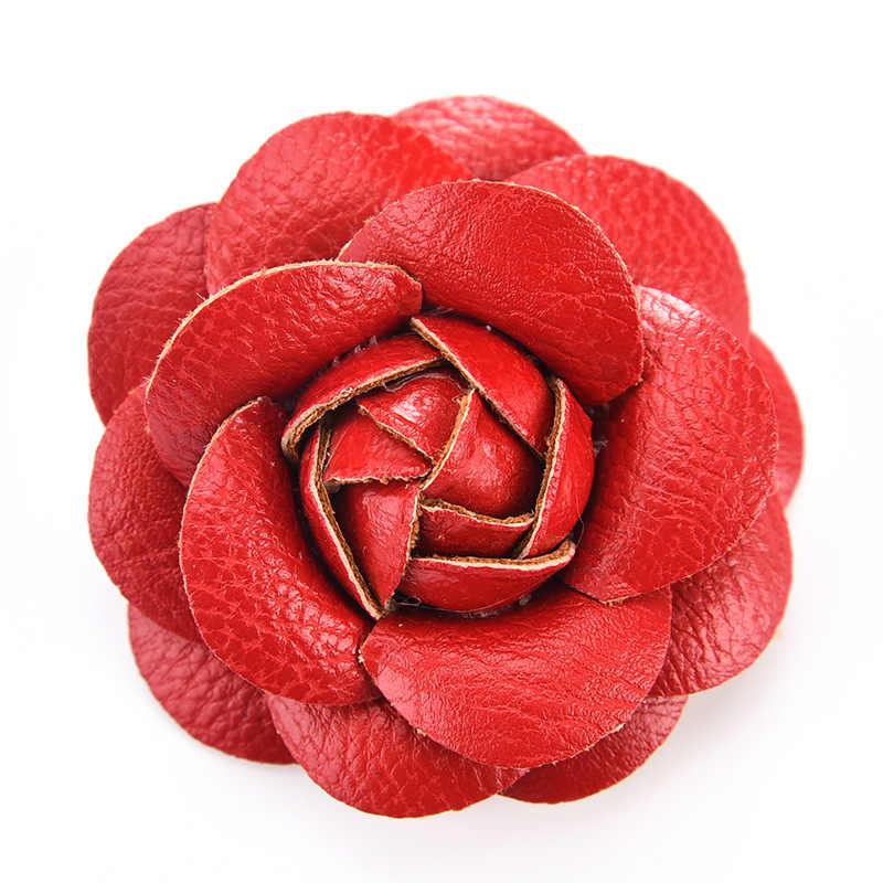 Baru Korea Buatan Tangan PU Kulit Camellia Bunga Bros Kancing Kerah Pin Perhiasan Bros Korsase Hadiah untuk Wanita Aksesoris