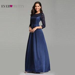 Image 4 - גלימת דה Soiree אי פעם די EZ07720 חיל הים כחול אונליין תחרה חצי שרוול סאטן ערב שמלות ארוך אלגנטי חתונת אורחים שמלות