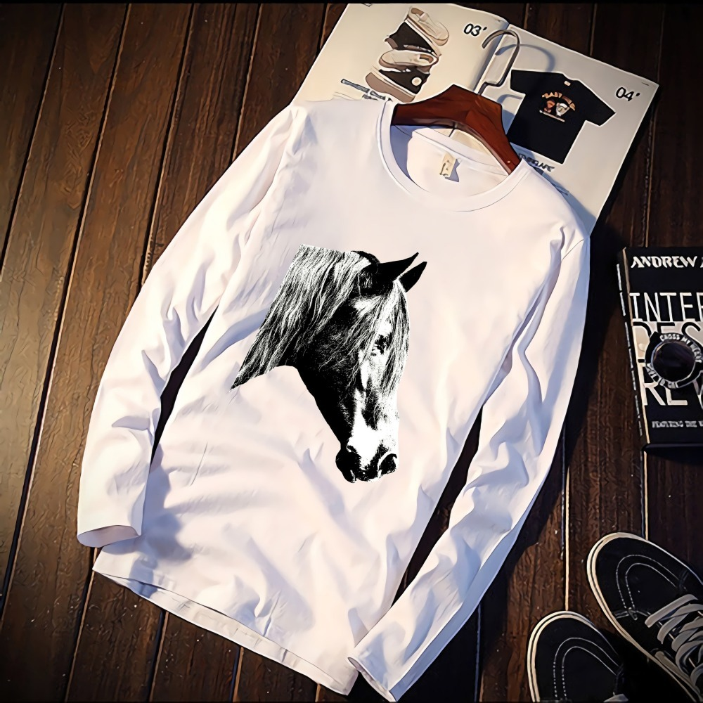 New Long Sleeve T Shirt Unisex Black And White Horse Nordic Print 100% Cotton Top Tee Casual O Neck Streetwear Clothing