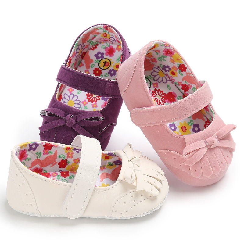 Infant Newborn Girls Princess Shoes Mary Jane Ballet Dress Baby First Walkers Crib Floral Soft Soled Toddler Anti-Slip Shoes