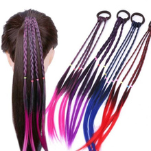 Colorful Twisted Braid Wigs Elastic Hair Bands Ponytail Headbands Rubber Party Wing Headwear Red Blue Purple