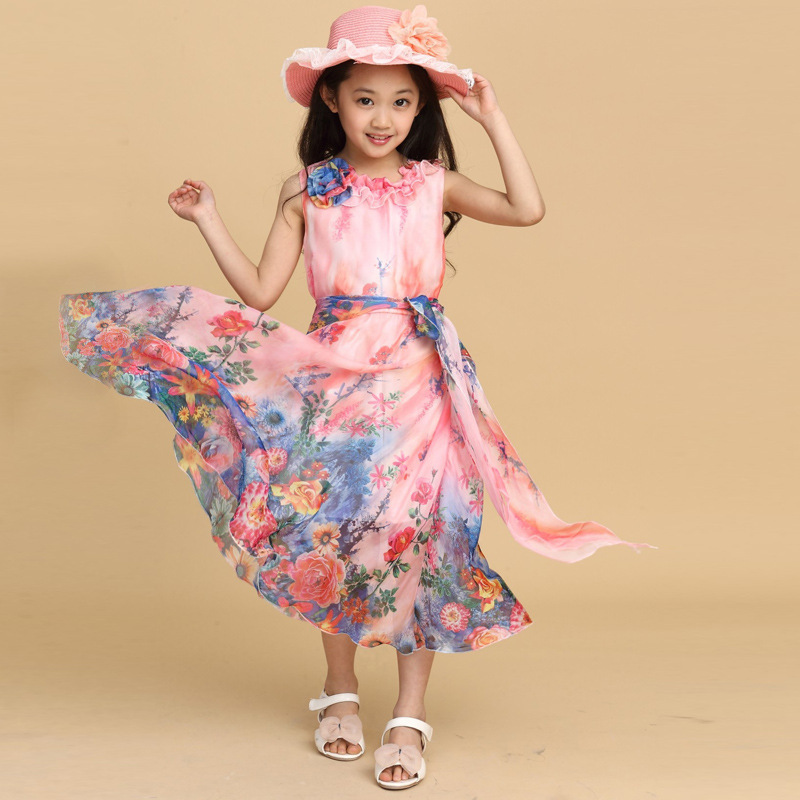 Family Matching Outfits Summer Beach Bohemian Maxi Long Dress Mother Daughter Chiffon Flower Printed Vacation Seaside Dresses