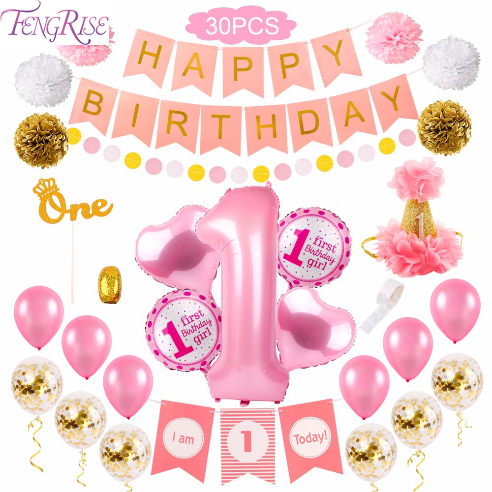 FENGRISE  30pcs Pink 1st Birthday First Girl Party Decor 1 Year Baby Shower One Old DIY