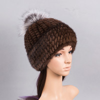 womens fur hats pompom fur mink fur hats knitted warm winter girls fur caps mink beanies russian cap white black color H123