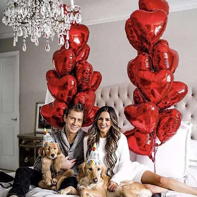 15 pièces/lot 18 pouces or argent rouge coeur amour ballon couleur Pure feuille dhélium ballon pour mariage fête danniversaire décoration fournitures