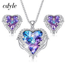 452bbb319 Cdyle Crystals from Swarovski Angel Wings Necklaces Earrings Purple Blue Crystal  Heart Pendant Jewelry Set For Women Love Gifts