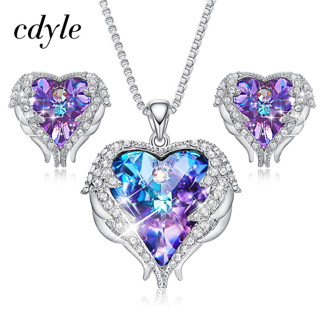 Cdyle Crystals from Swarovski Angel Wings Necklaces Earrings Purple Blue Crystal  Heart Pendant Jewelry Set For