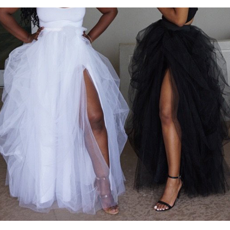 Fashion Women Maxi Tulle Skirt Elastic High Waist Floor Jupes Front Slit Asymmetrical Ladies Party Tutu Skirt Faldas Mujer Saia
