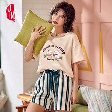 Women Pajama Sets 2019 Summer 100% Cotton Cartoon Short Pyjamas Homewear Animal Sleepwear Female Shorts