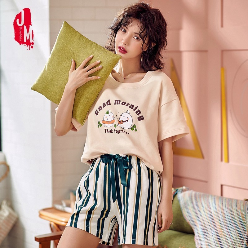 Women   Pajama     Sets   2019 Summer 100% Cotton Cartoon Short Pyjamas Homewear Animal Sleepwear   Pajama   Female Pyjamas Women Shorts
