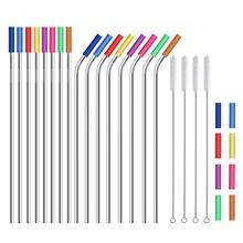 LBER соломинки многократного использования из нержавеющей стали, металлические соломинки с 24 мягкими силиконовыми наконечниками для стаканчиков 20 унций