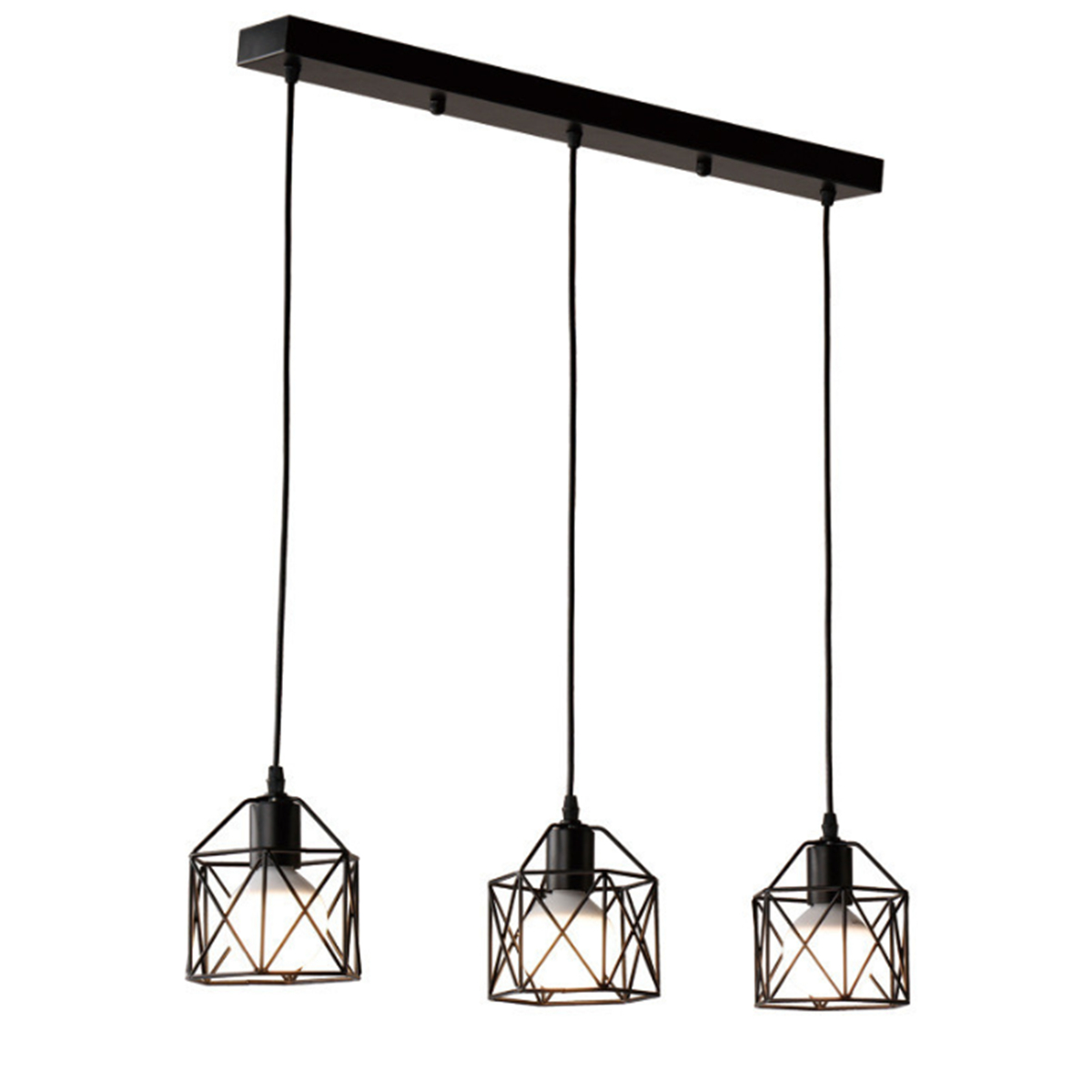 Modern Black Cage Pendant Lights Iron Minimalist Retro Nordic Loft Pyramid Lamp Metal Hanging Lamp E27 Parlor Bar Indoor Hanging