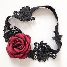 1f45f4714 2 peças Sexy Moda Wedding Garter Nupcial Acessórios Cosplay Partido Lace  Black Rose Flor Laço Perna Leggings