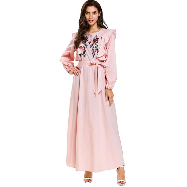 56228e89368 2019 Abaya Caftans for Women Pink Embroidery Ruffles Bow Plus Size Maxi  Patchwork Dresses Cardigan Kimono Long Robe Middle East