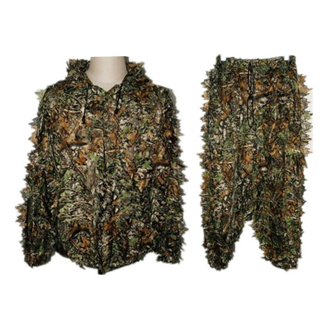 cb7c2e909bbc1 Outdoor Camouflage Camo Hunting Shooting Durable 3D Leaf Woodland Jungle  Birding Sniper Ghillie Suit Set Kit