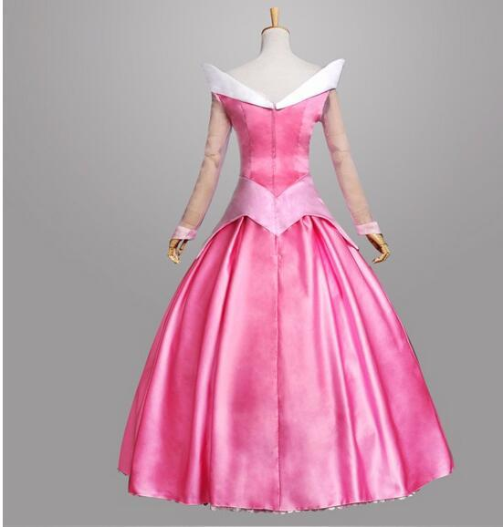 Hot Adult Women Halloween Party S-xl Brand New Pink Princess Aurora Sleeping Beauty Cosplay Costume Dress Adult Role-palying