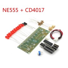 NE555 + CD4017 Practice Learing Kits LED Flashing Lights Module For Arduino Clock Generation Circuit PCB Board Electronic Suite