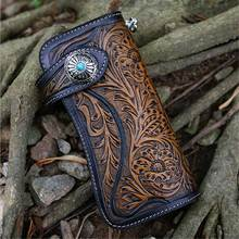Genuine Leather Wallets Carving Floral Bag Purses Women Men Clutch Handmade Vintage Biker Punk Carved Long  Wallet Hasp w Chain