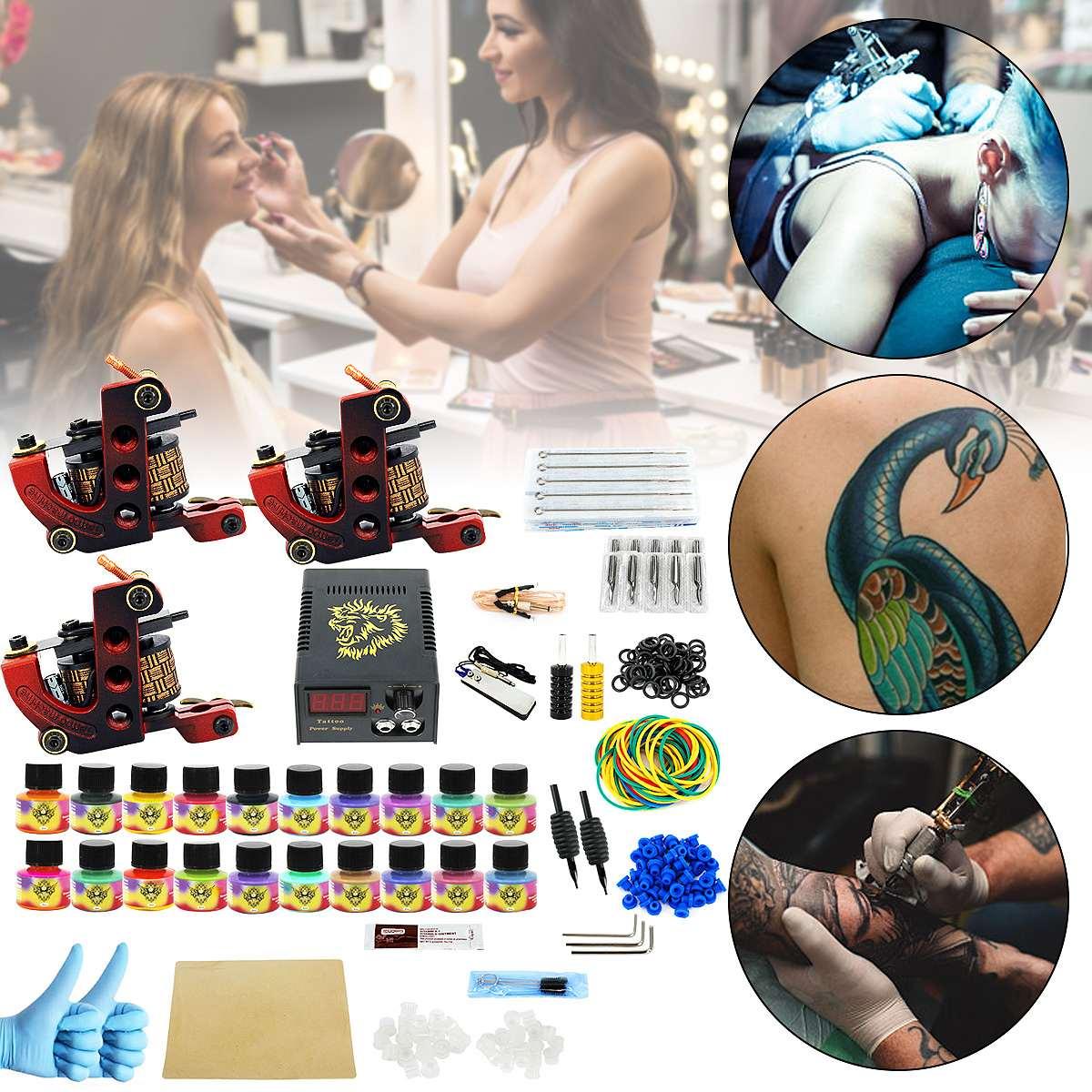 Tatouage 3 Guns Machine Conseils Grip 20 Couleurs Pigment De Tatouage Kits alimentation Accessoires Makesup Complète Corps Tatoo Permanent Art