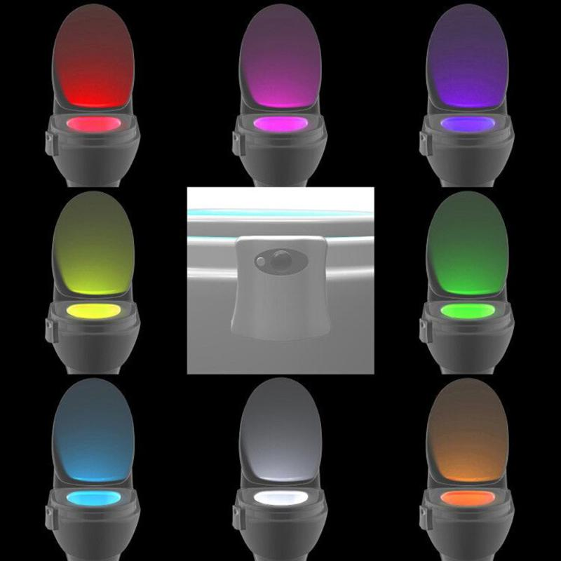 8 24 Colors Smart Bathroom Toilet Nightlight LED Body Motion Activated On Off Seat Sensor Lamp PIR Toilet Night Light Lamp in LED Night Lights from Lights Lighting