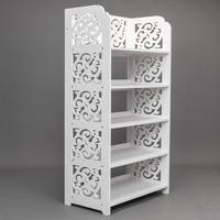 Shoe Racks Storage Organizer Wood plastic Board Five Tiers Carved Shoe Shelf Stand Holder Rack for Home Bedroom Dormitory
