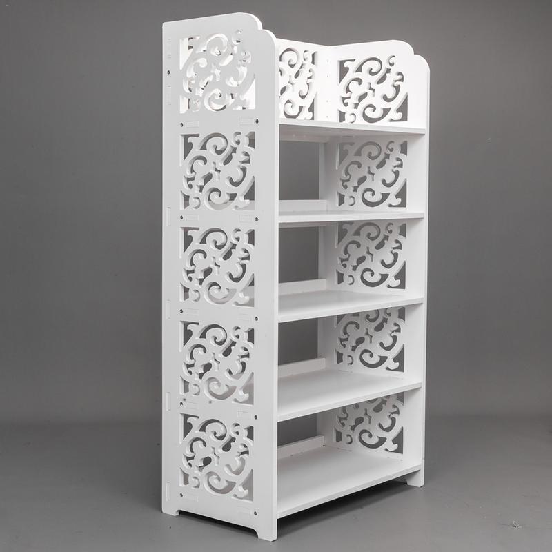 Wooden Hollow Bathroom Cabinet Hallway 3-tier Floor Stand Storage Shelf